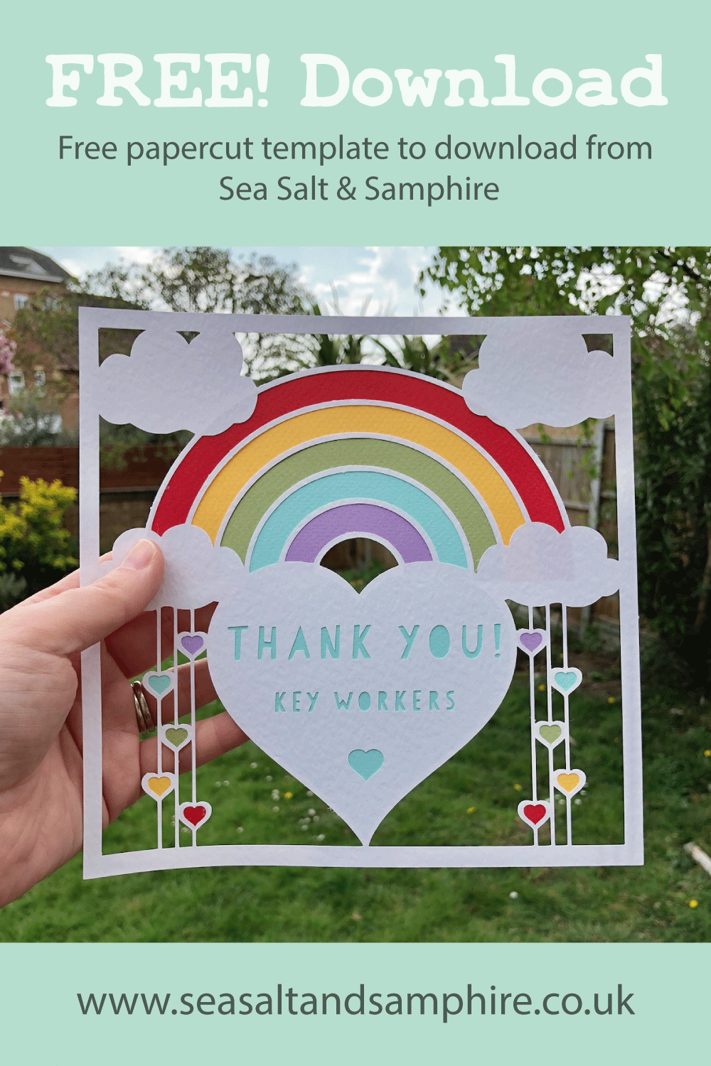 Picture of thank you key workers rainbow paper cut template