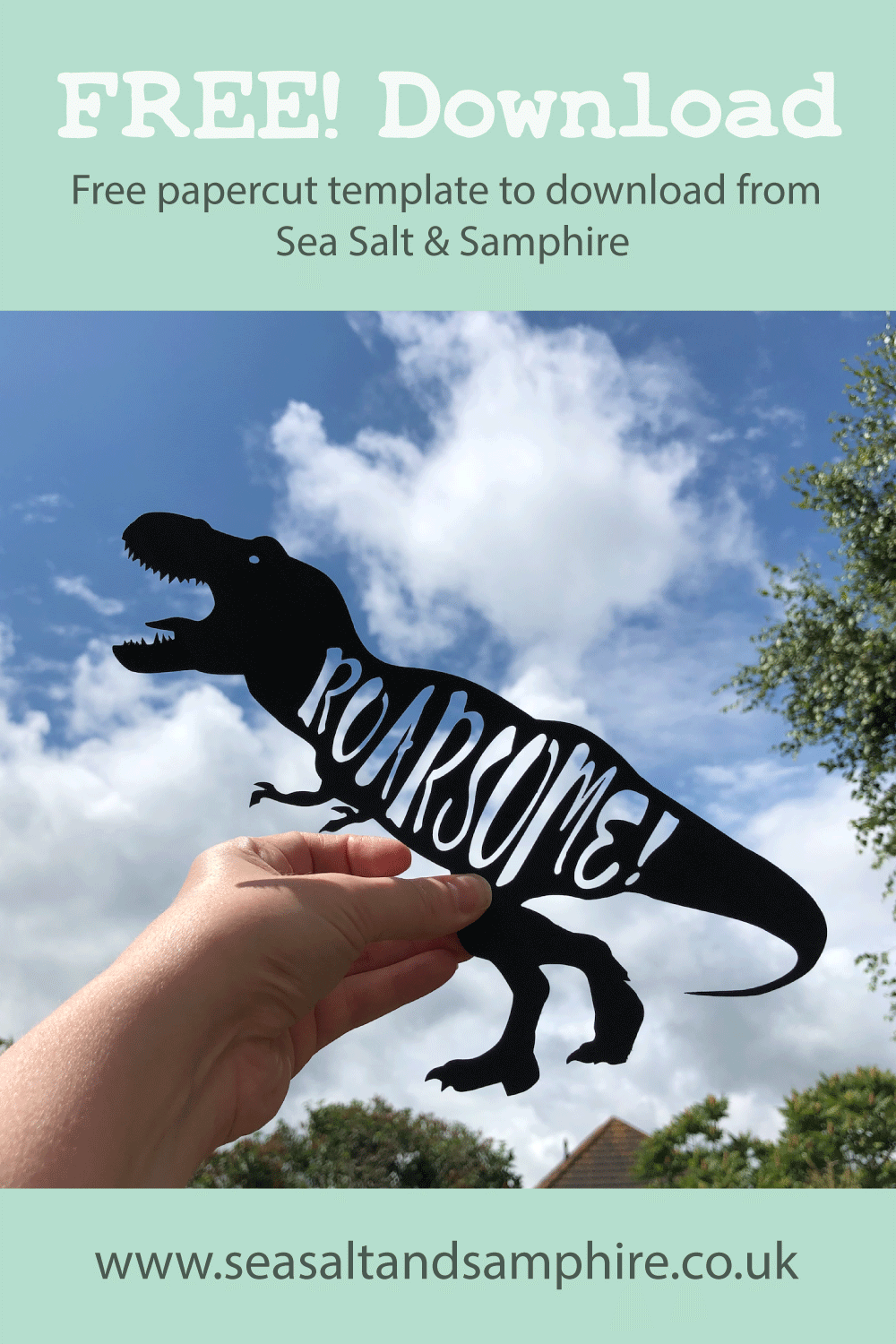 Papercut of a dinosaur silhouette with the word roarsome inside