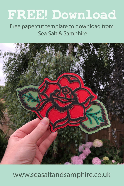 layered rose papercut