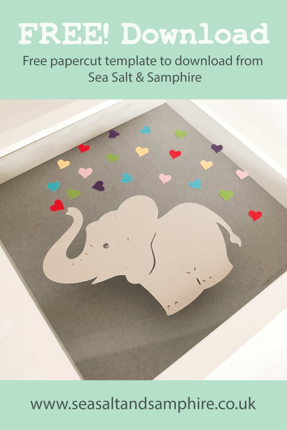photo of showered with love papercut featuring and elephant and hearts