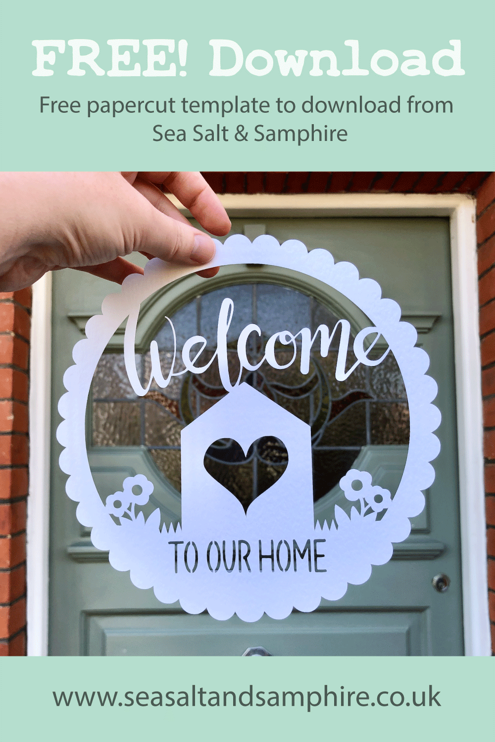 Papercut with the words welcome to our home