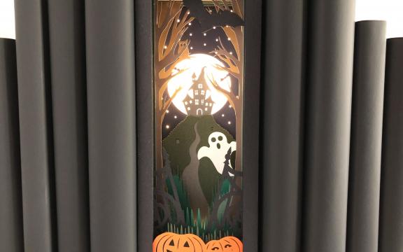Halloween book nook paper diorama template