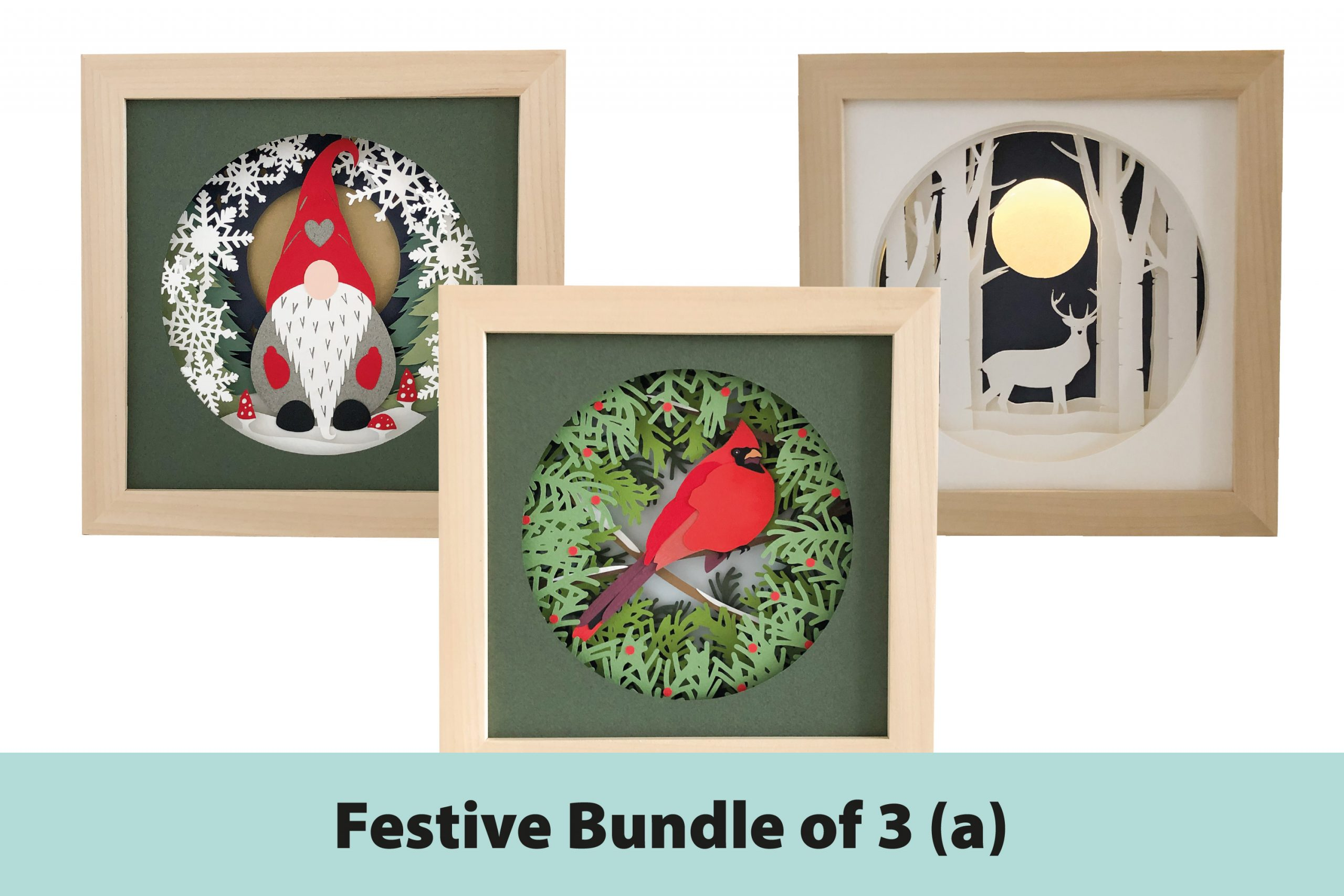 Photo of Festive shadow box template bundle