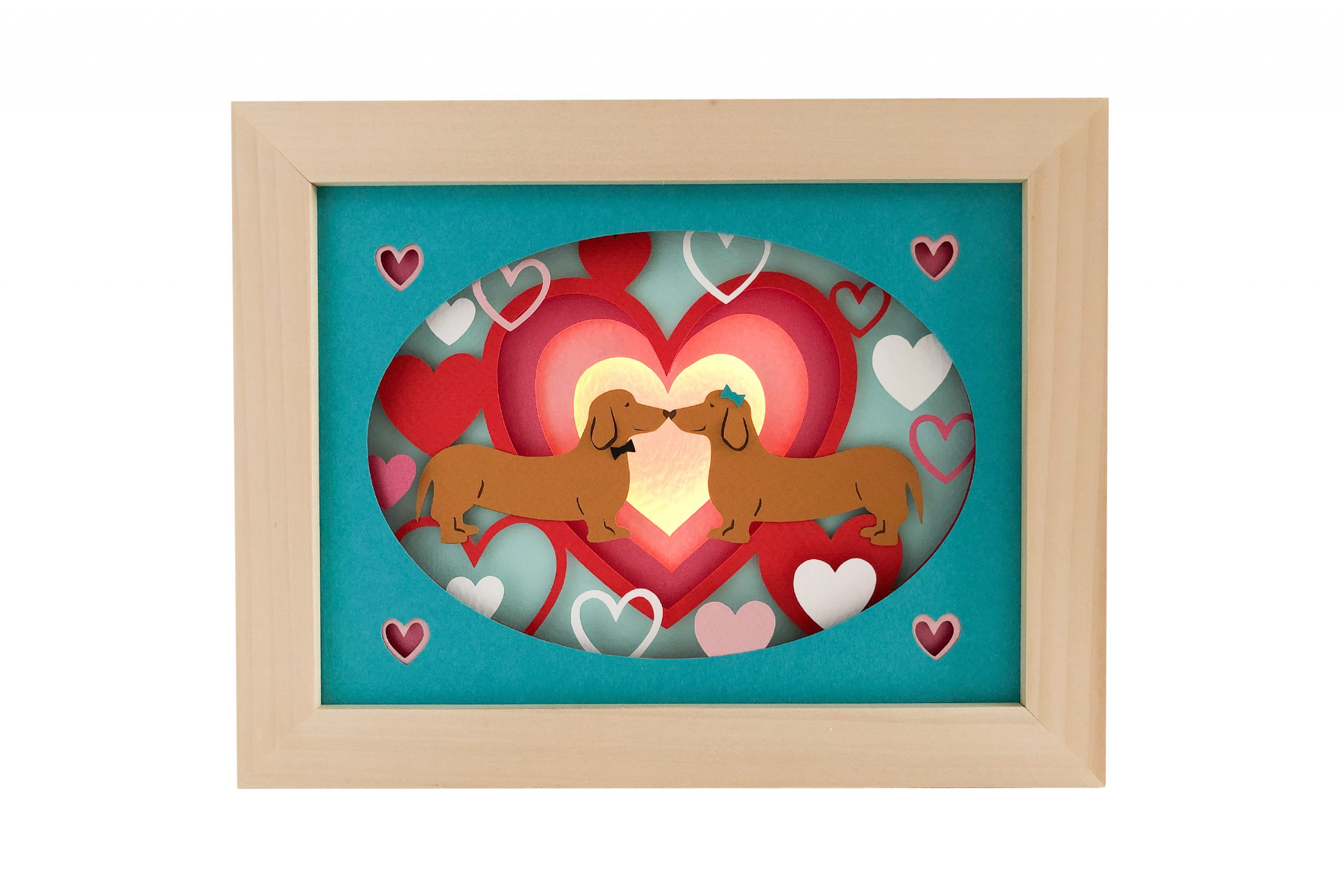 Photo of valentine sausages shadow box template