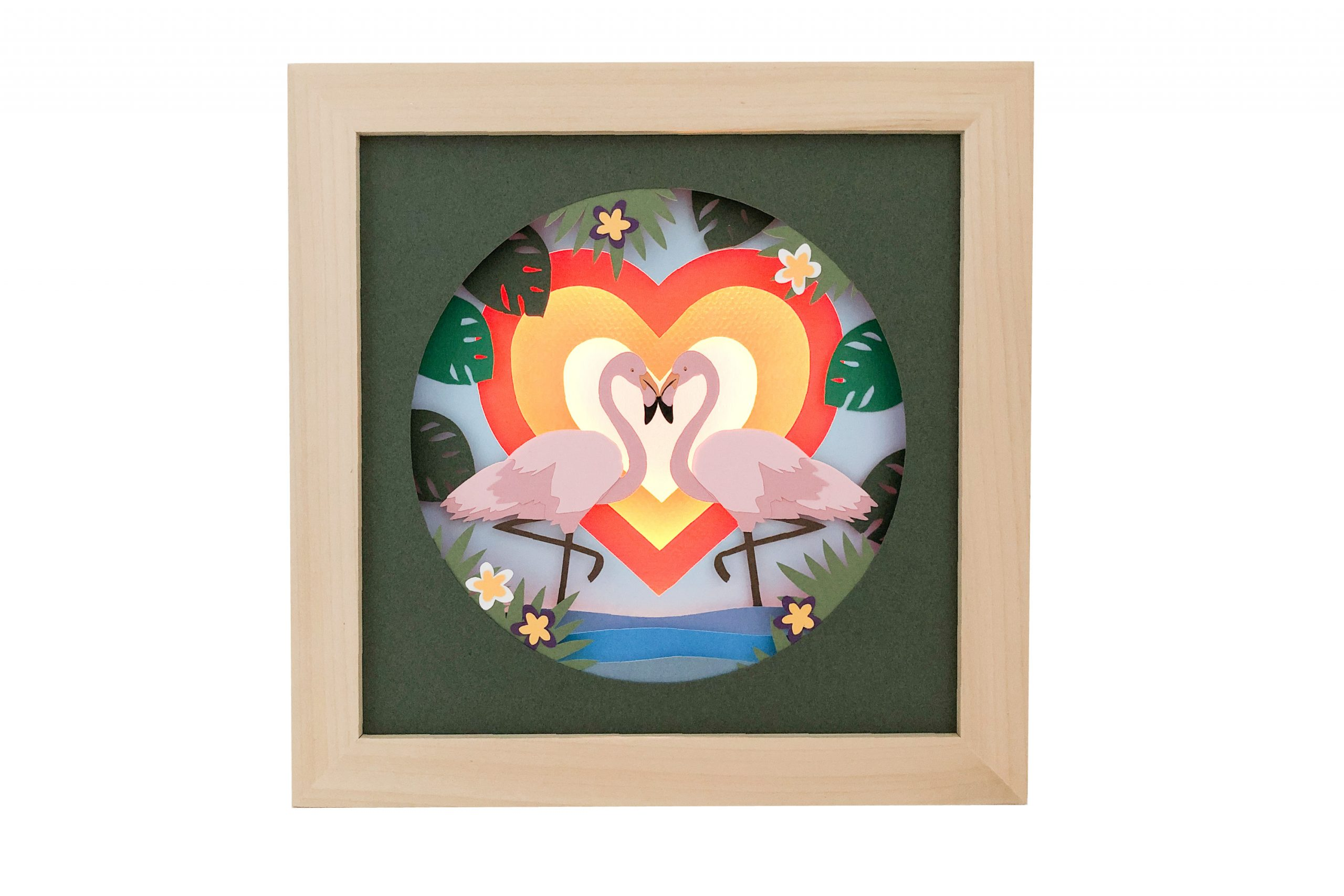 Photo of flamingoes shadow box template