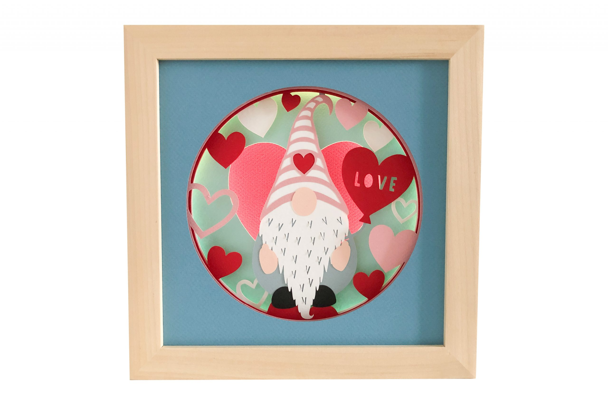 Photo of Valentine's gnome shadow box template