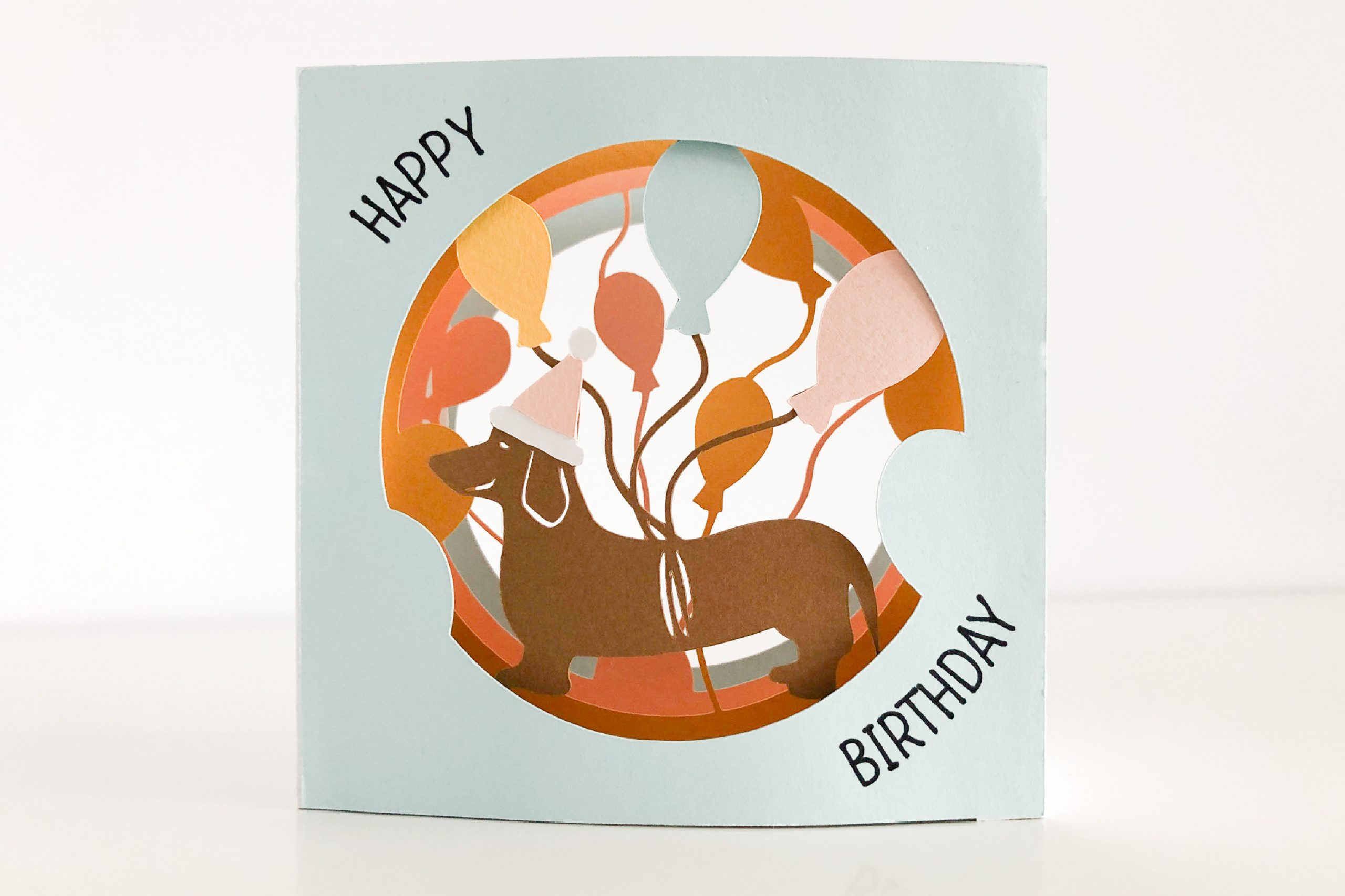 Photo of dog birthday tunnel card template
