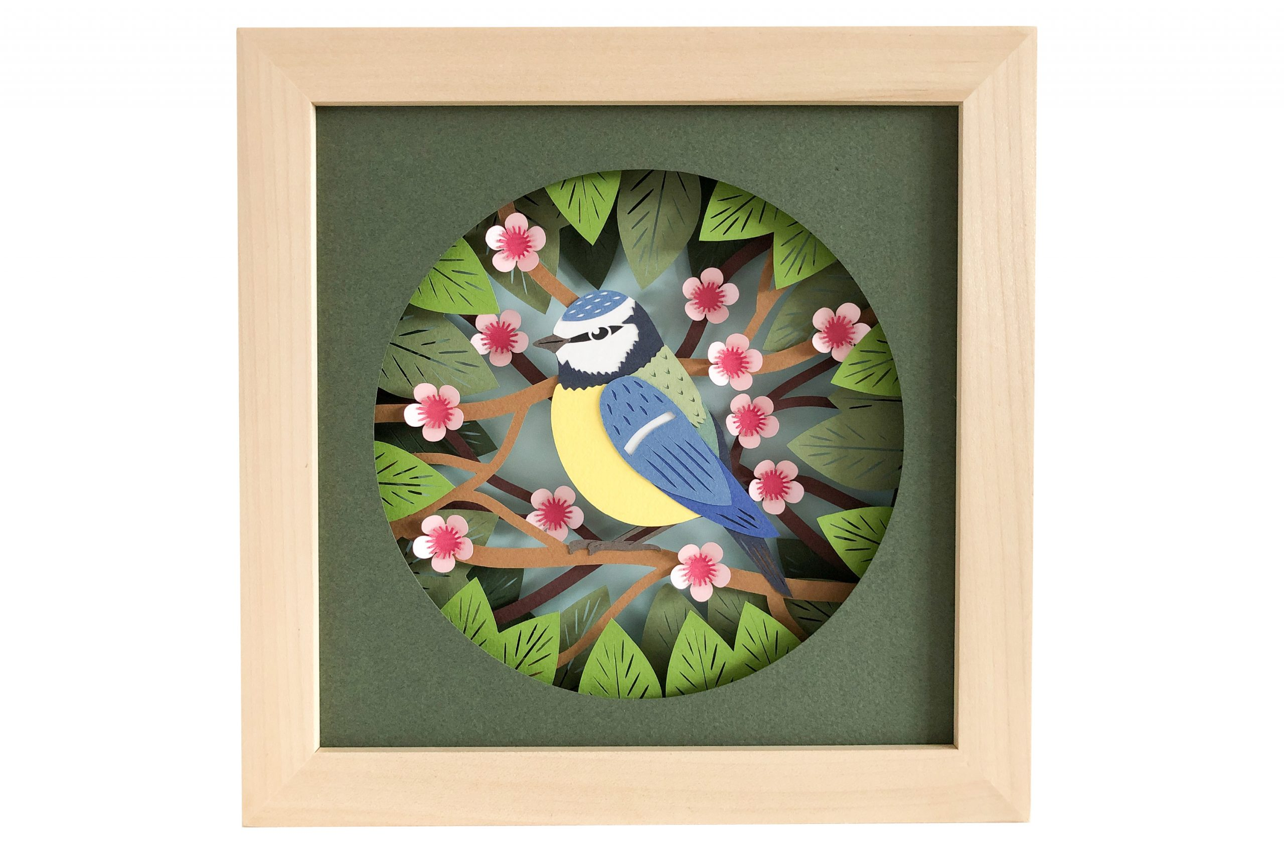 Photo of blue tit shadow box template