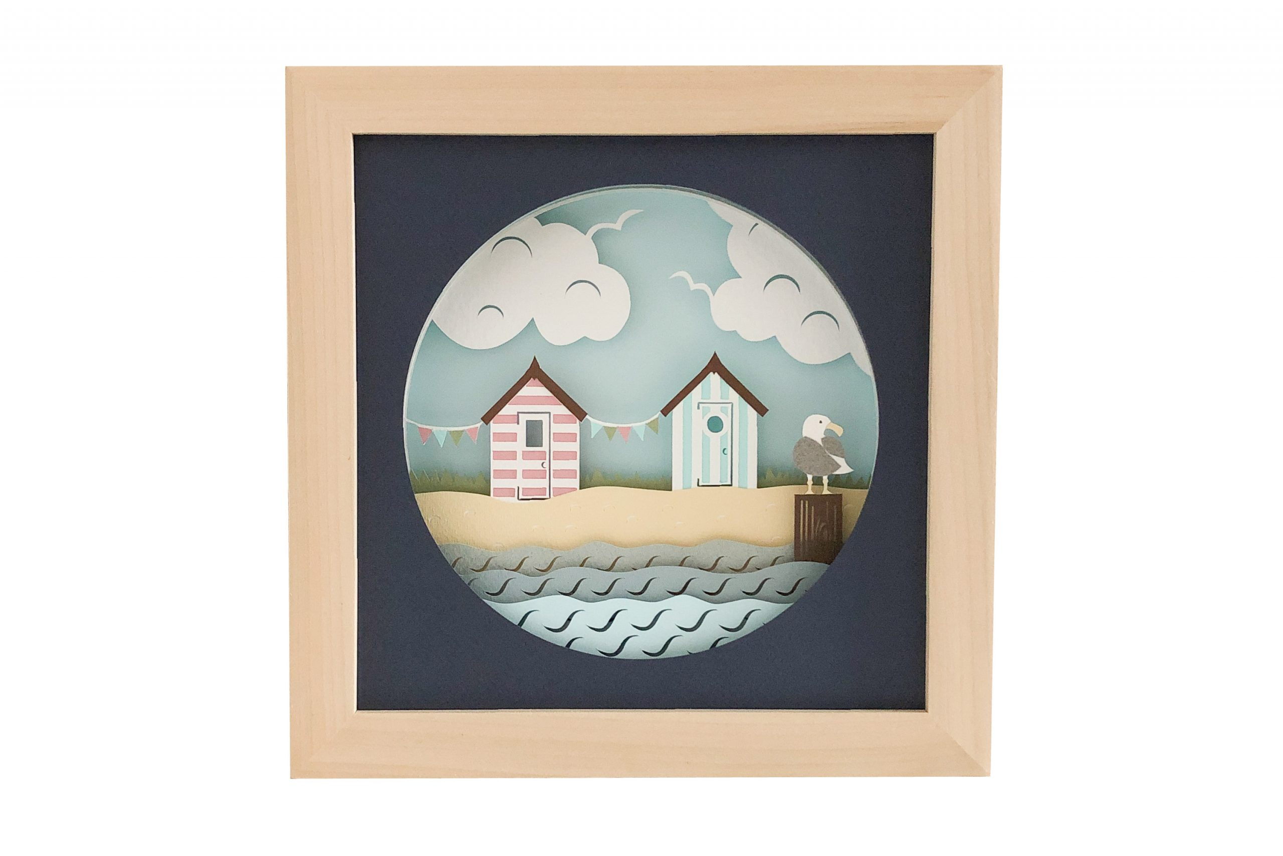 Photo of beach huts shadow box template