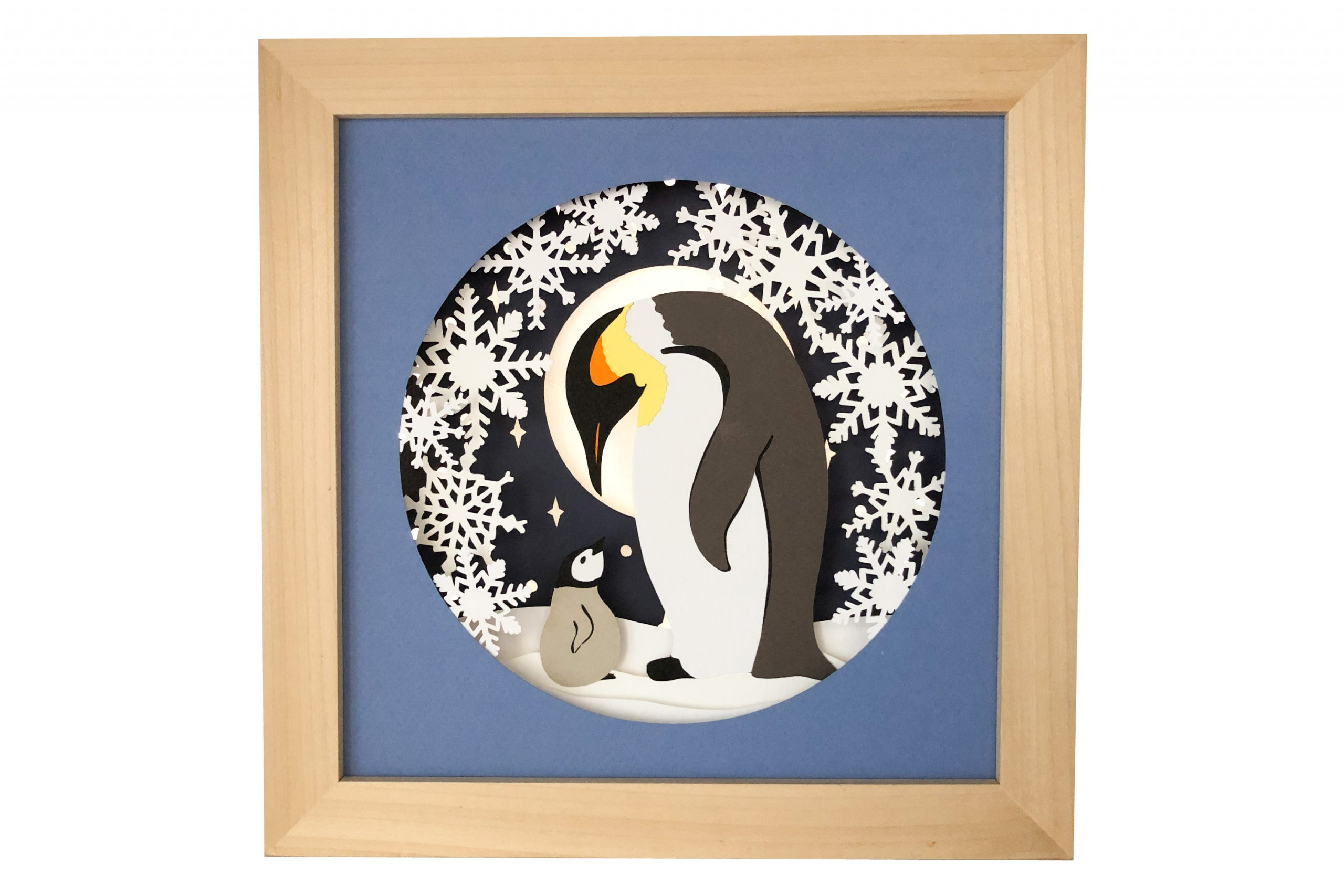 Photo of penguin paper craft shadow box template